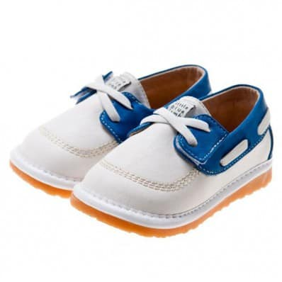Little Blue Lamb - Squeaky Leather Toddler boys Shoes | White blue boats