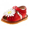 Little Blue Lamb - Squeaky Leather Toddler Girls Shoes | Red white marguerite semi sandals