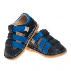 Little Blue Lamb - Krabbelschuhe Babyschuhe squeaky Leder - Jungen | Sandalen schwarze und blau