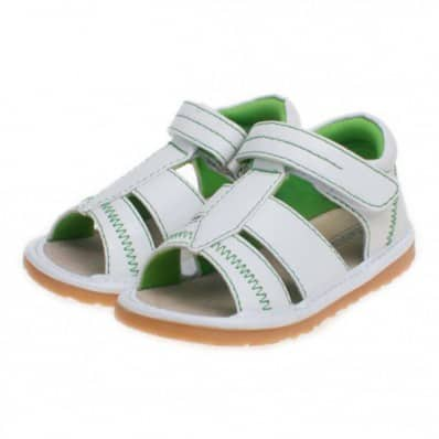 Little Blue Lamb - Squeaky Leather Toddler boys Shoes | White and green sandals