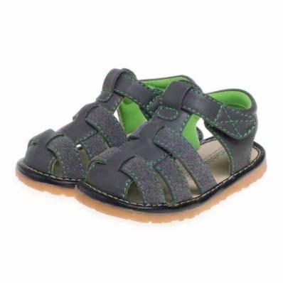 Little Blue Lamb - Chaussures à sifflet | Sandales grises doublure verte