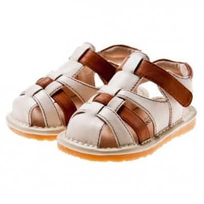 Little Blue Lamb - Zapatos de cuero chirriantes - squeaky shoes niños | Sandalias beiges y marrones