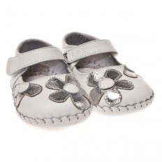Little Blue Lamb- Baby girls first steps soft leather shoes | Sliver white babies