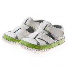 Little Blue Lamb - Krabbelschuhe Babyschuhe Leder - Jungen | Weiß Grün sandalen