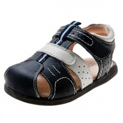 Little Blue Lamb - Chaussures semelle souple | Sandales bleues et blanches