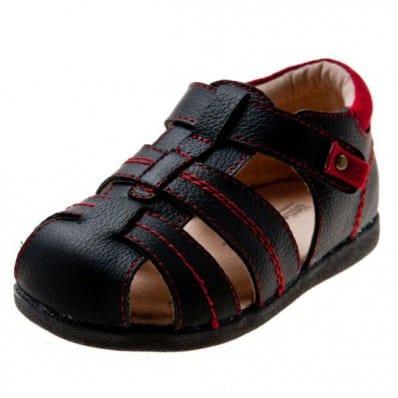 Little Blue Lamb - Zapatos de suela de goma blanda niños | Sandalias negras