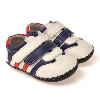 CAROCH - Baby boys first steps soft leather shoes | White blue red sneakers