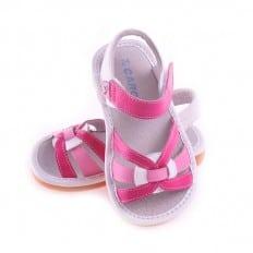 CAROCH - Chaussures à sifflet | Sandales blanches et fushia