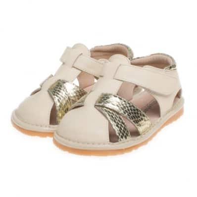 Little Blue Lamb - Chaussures à sifflet | Sandales crème dorées