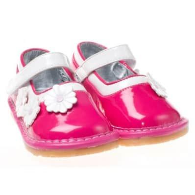 Little Blue Lamb - Scarpine bimba primi passi con fischietto | Babies rosa brillante