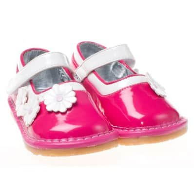 Little Blue Lamb - Zapatos de cuero chirriantes - squeaky shoes niñas | Babies rosa flor blanca