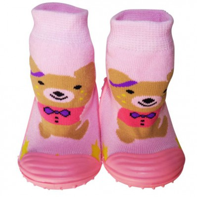 Baby girls Socks shoes with grippy rubber | Brown bear