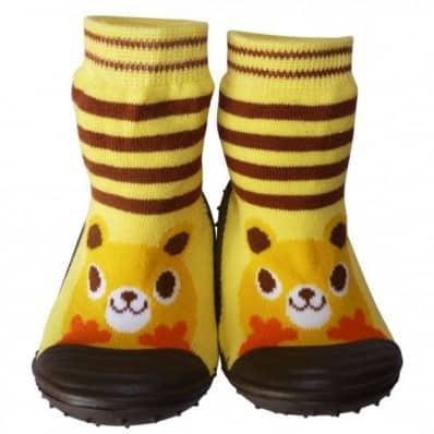 Chaussons-chaussettes enfant antidérapants semelle souple | Animal jaune