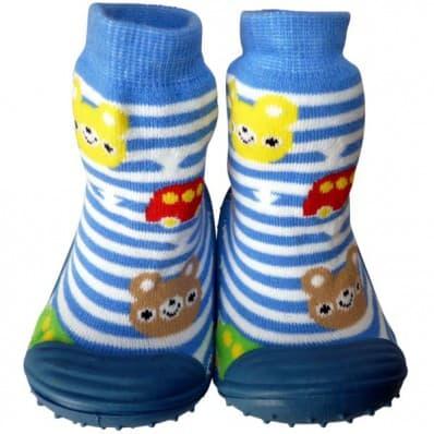 Chaussons-chaussettes enfant antidérapants semelle souple | Rayé bleu et blanc