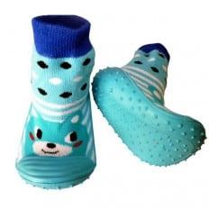 Calcetines con suela antideslizante para niños   Animal azul