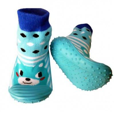 Chaussons-chaussettes enfant antidérapants semelle souple | Animal bleu