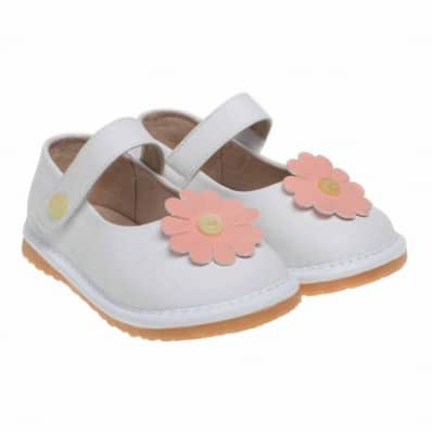 Little Blue Lamb - Scarpine bimba primi passi con fischietto | Babies bianco flore rosa