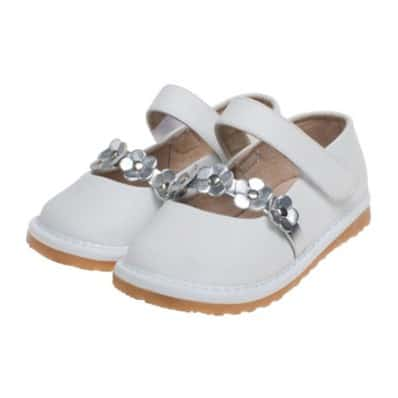 Little Blue Lamb - Squeaky Leather Toddler Girls Shoes | Babies white silvery flowers