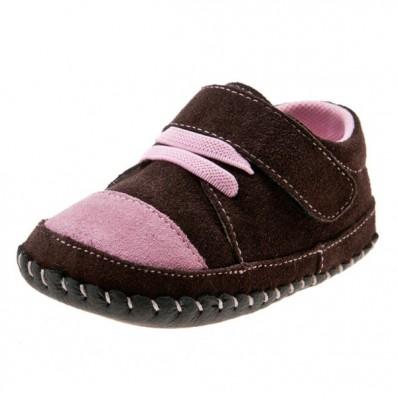 Little Blue Lamb - Chaussures premiers pas cuir souple | Baskets marron et rose