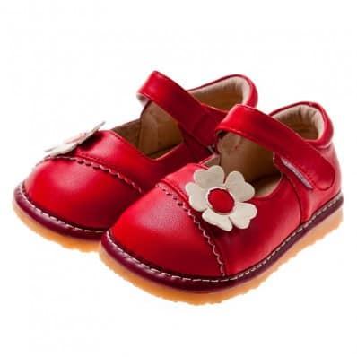 Little Blue Lamb - Zapatos de cuero chirriantes - squeaky shoes niñas | Babies flor roja y rosa