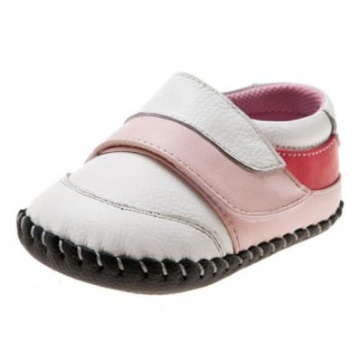 Little Blue Lamb - Chaussures premiers pas cuir souple | Babies blanches velcro rose