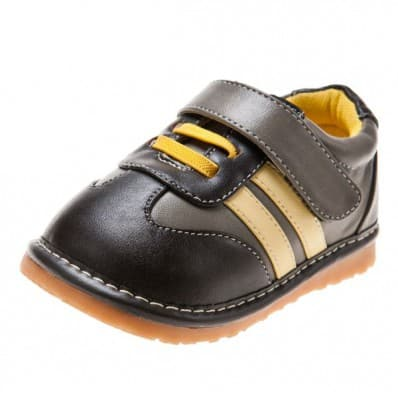 Little Blue Lamb - Squeaky Leather Toddler boys Shoes | Grey yellow strip sneakers