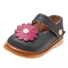 Little Blue Lamb - Squeaky Leather Toddler Girls Shoes | Grey babies with pink marguerite