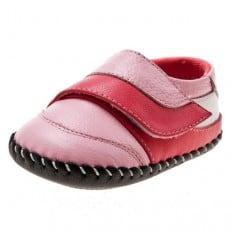Little Blue Lamb - Chaussures premiers pas cuir souple | Babies roses velcro rose