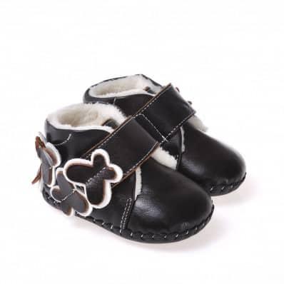 CAROCH - Krabbelschuhe Babyschuhe Leder - Mädchen   Marone gefüllte stiefel