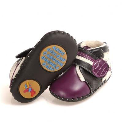 CAROCH - Chaussures premiers pas cuir souple | Montantes fourrées violettes petit chien