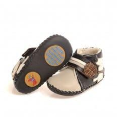 CAROCH - Chaussures premiers pas cuir souple | Montantes fourrées grises petit chien