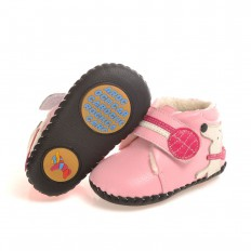 CAROCH - Baby girls first steps soft leather shoes | Pink filled bootees little dog