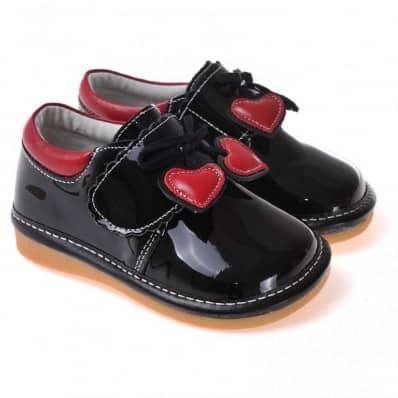 CAROCH - Chaussures à sifflet | Babies noires coeur rouge