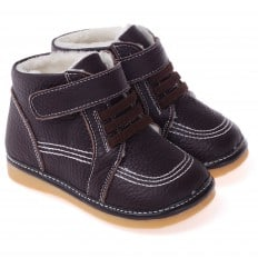 CAROCH - Squeaky Leather Toddler boys Shoes | Brown filled bootees