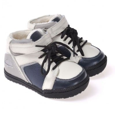 CAROCH - Soft sole boys Toddler kids baby shoes | Blue and grey filled booties