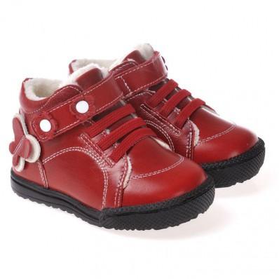 CAROCH - Krabbelschuhe Babyschuhe Leder - Mädchen | Rot gefüllte stiefel