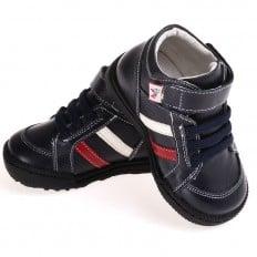 CAROCH - Zapatos de suela de goma blanda niños   Montantes fourées negras fajas rojo