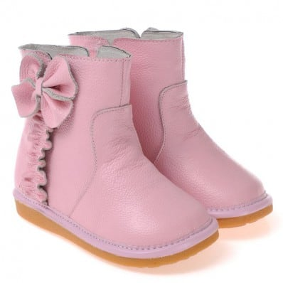 CAROCH - Squeaky Leather Toddler Girls Shoes | Pink filled bootees