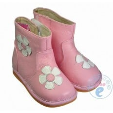 FREYCOO - Chaussures à sifflet | Bottes rose fleurs blanches