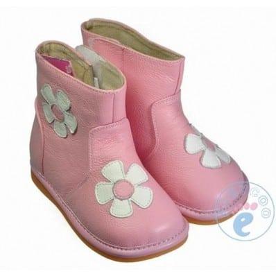 FREYCOO - Zapatos de cuero chirriantes - squeaky shoes niñas   Botas a rosa flores blancas
