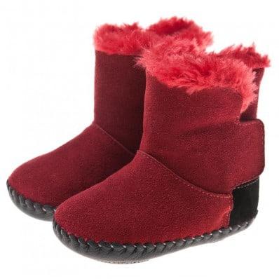 Little Blue Lamb - Zapatos de bebe primeros pasos de cuero niñas | Botines talón rojo y negro