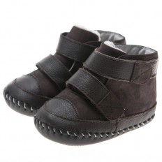 Little Blue Lamb - Baby boys first steps soft leather shoes | Brown filled Bootees