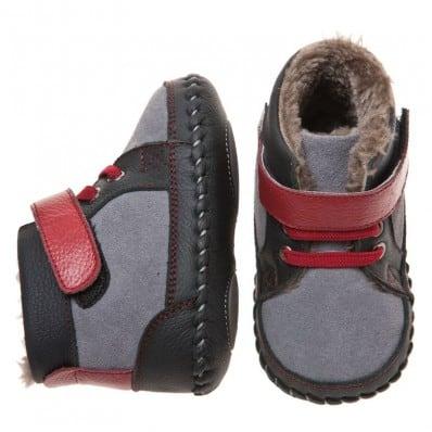 Little Blue Lamb - Chaussures premiers pas cuir souple | Montantes fourrées gris rouge C2BB - chaussons, chaussures, chaussettes