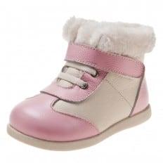 Little Blue Lamb - Zapatos de suela de goma blanda niñas | Botines blanco y rosa