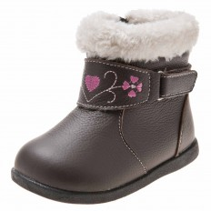 Little Blue Lamb - Soft sole girls Toddler kids baby shoes | Brown bootees with pink heart
