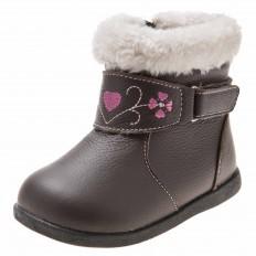 Little Blue Lamb - Zapatos de suela de goma blanda niñas | Botas marrones pequeño corazón rosa