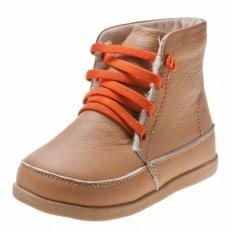 Little Blue Lamb - Zapatos de suela de goma blanda niños   Botines beige cordones anaranjados