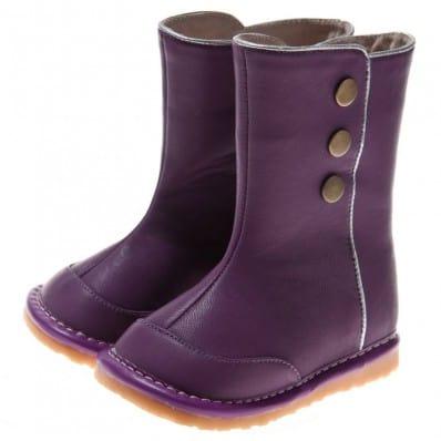 Little Blue Lamb - Zapatos de cuero chirriantes - squeaky shoes niñas   Botas el invierno violetas