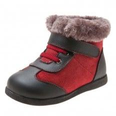 Little Blue Lamb - Zapatos de suela de goma blanda niños | Botas rojas y negrasrojas brillantes
