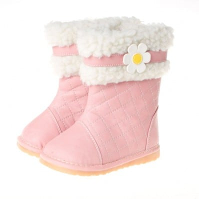 Little Blue Lamb - Squeaky Leather Toddler Girls Shoes | Pink winter boots